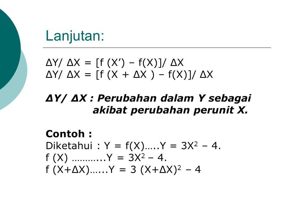 (1). TINGKAT PERUBAHAN (RATE OF CHANGE) Fungsi Semula: Y=(X). Jika X berubah dari X ke X' maka perubahan X ditulis : ΔX= X'–X Maka : X' = X + ΔX Fungs