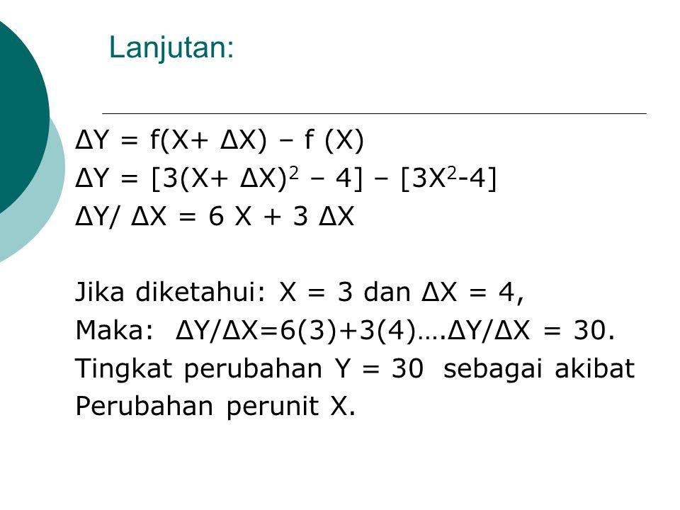 Lanjutan: ΔY/ ΔX = [f (X') – f(X)]/ ΔX ΔY/ ΔX = [f (X + ΔX ) – f(X)]/ ΔX ΔY/ ΔX : Perubahan dalam Y sebagai akibat perubahan perunit X. Contoh : Diket