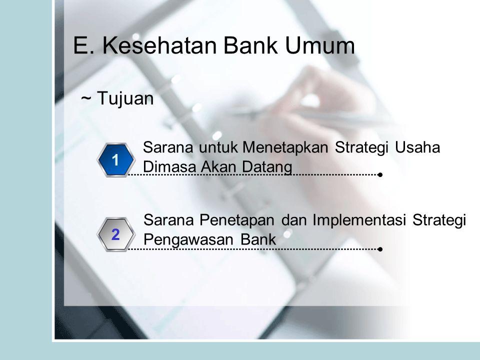 E. Kesehatan Bank Umum ~ Tujuan Sarana untuk Menetapkan Strategi Usaha Dimasa Akan Datang 1 Sarana Penetapan dan Implementasi Strategi Pengawasan Bank