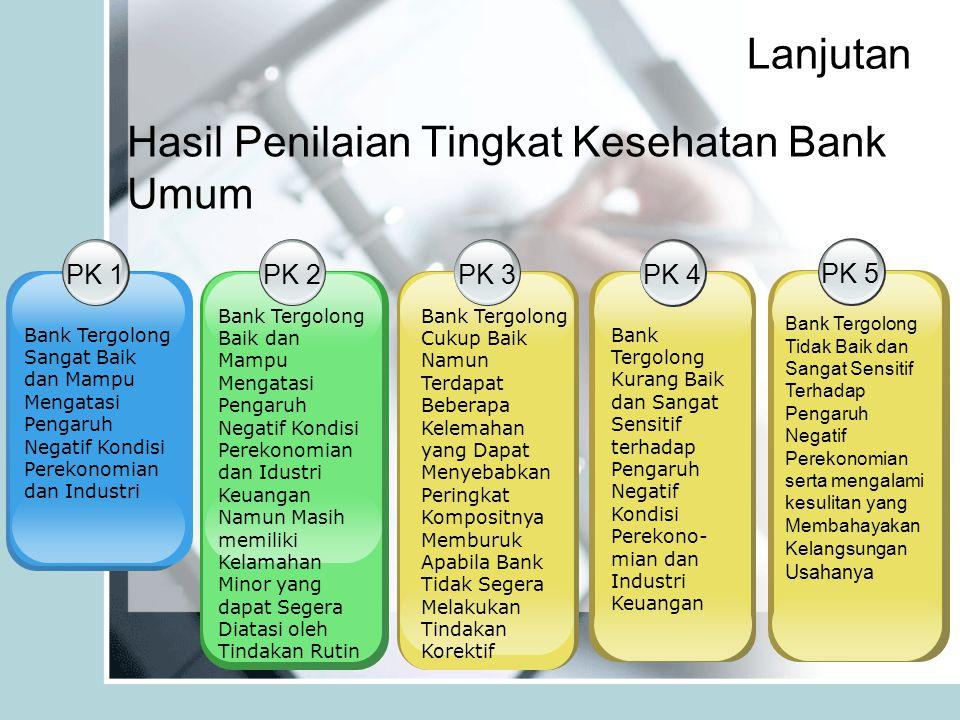 Lanjutan Hasil Penilaian Tingkat Kesehatan Bank Umum PK 1 Bank Tergolong Sangat Baik dan Mampu Mengatasi Pengaruh Negatif Kondisi Perekonomian dan Industri PK 2 Bank Tergolong Baik dan Mampu Mengatasi Pengaruh Negatif Kondisi Perekonomian dan Idustri Keuangan Namun Masih memiliki Kelamahan Minor yang dapat Segera Diatasi oleh Tindakan Rutin PK 3 Bank Tergolong Cukup Baik Namun Terdapat Beberapa Kelemahan yang Dapat Menyebabkan Peringkat Kompositnya Memburuk Apabila Bank Tidak Segera Melakukan Tindakan Korektif PK 4 Bank Tergolong Kurang Baik dan Sangat Sensitif terhadap Pengaruh Negatif Kondisi Perekono- mian dan Industri Keuangan PK 5 Bank Tergolong Tidak Baik dan Sangat Sensitif Terhadap Pengaruh Negatif Perekonomian serta mengalami kesulitan yang Membahayakan Kelangsungan Usahanya