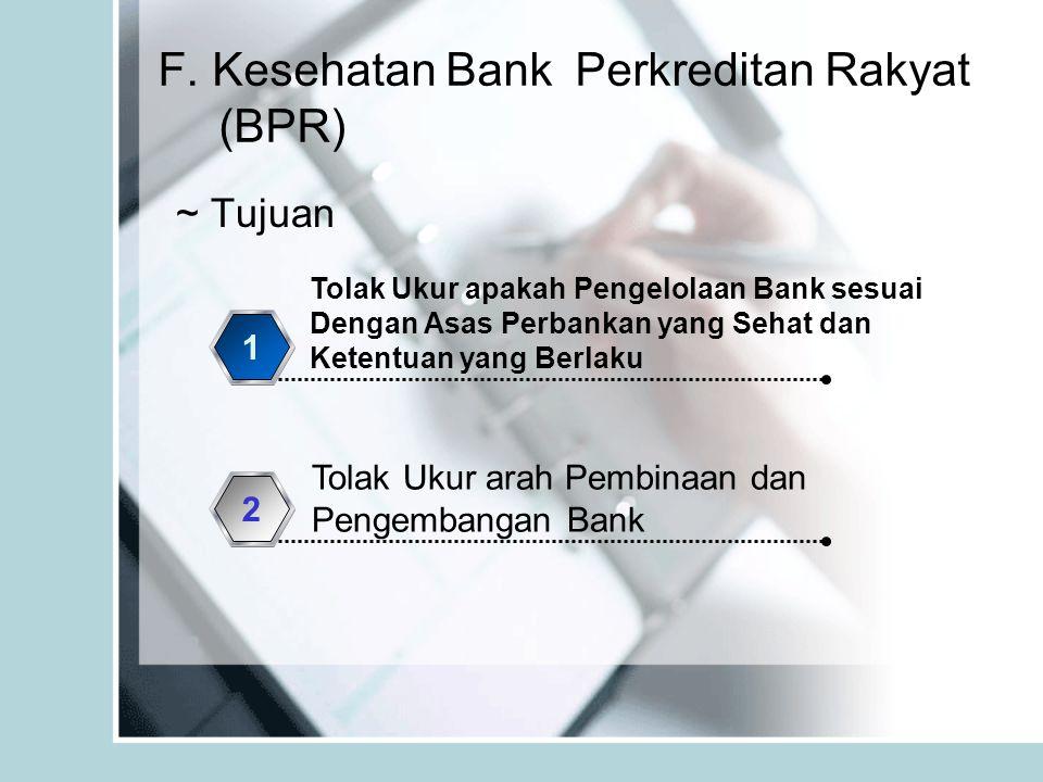 F. Kesehatan Bank Perkreditan Rakyat (BPR) ~ Tujuan Tolak Ukur apakah Pengelolaan Bank sesuai Dengan Asas Perbankan yang Sehat dan Ketentuan yang Berl