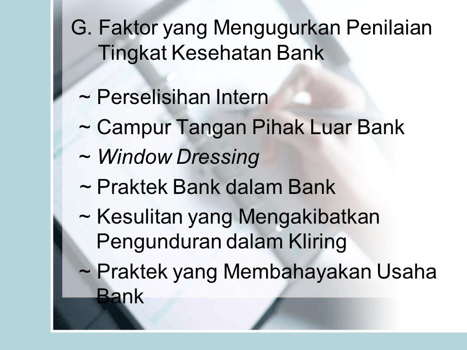 G. Faktor yang Mengugurkan Penilaian Tingkat Kesehatan Bank ~ Perselisihan Intern ~ Campur Tangan Pihak Luar Bank ~ Window Dressing ~ Praktek Bank dal