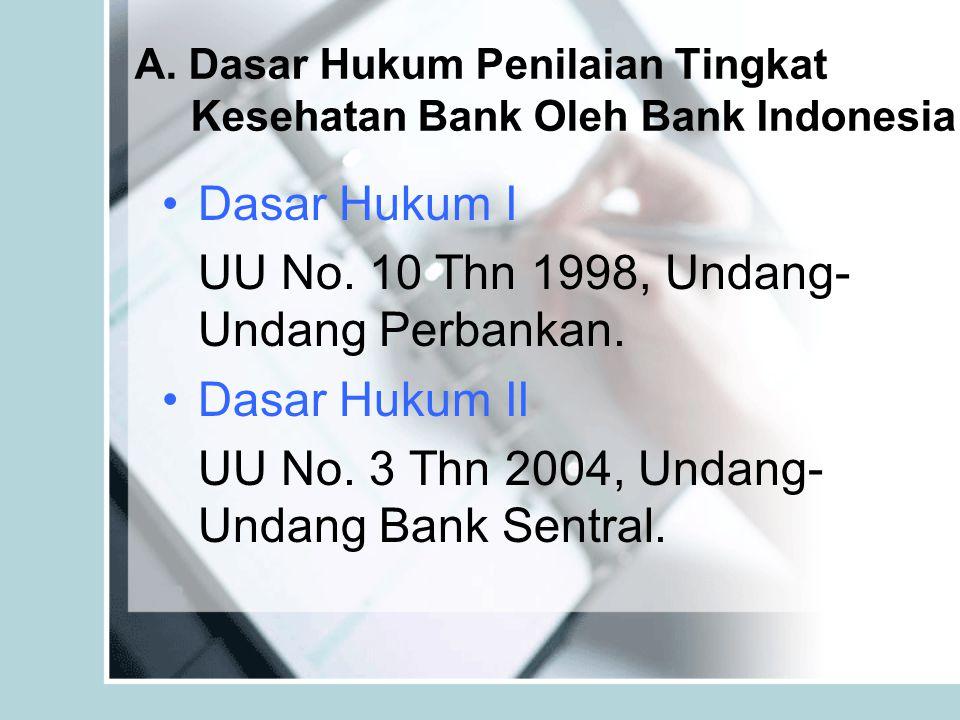 A. Dasar Hukum Penilaian Tingkat Kesehatan Bank Oleh Bank Indonesia Dasar Hukum I UU No. 10 Thn 1998, Undang- Undang Perbankan. Dasar Hukum II UU No.