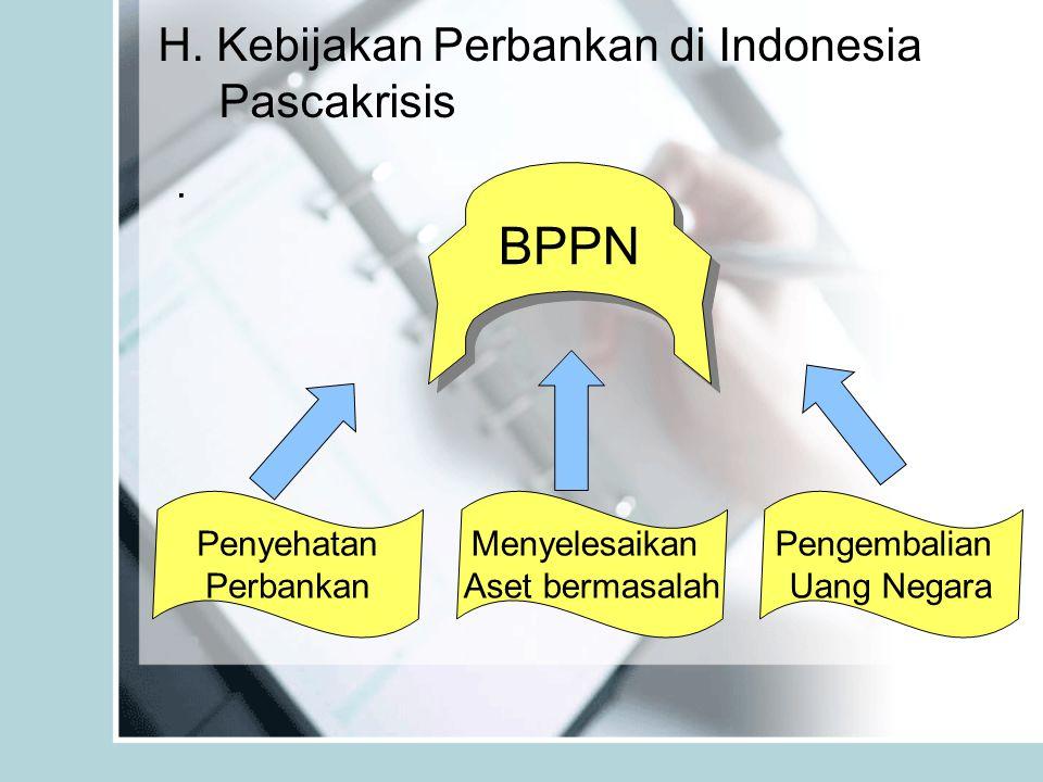 H. Kebijakan Perbankan di Indonesia Pascakrisis. BPPN Penyehatan Perbankan Menyelesaikan Aset bermasalah Pengembalian Uang Negara