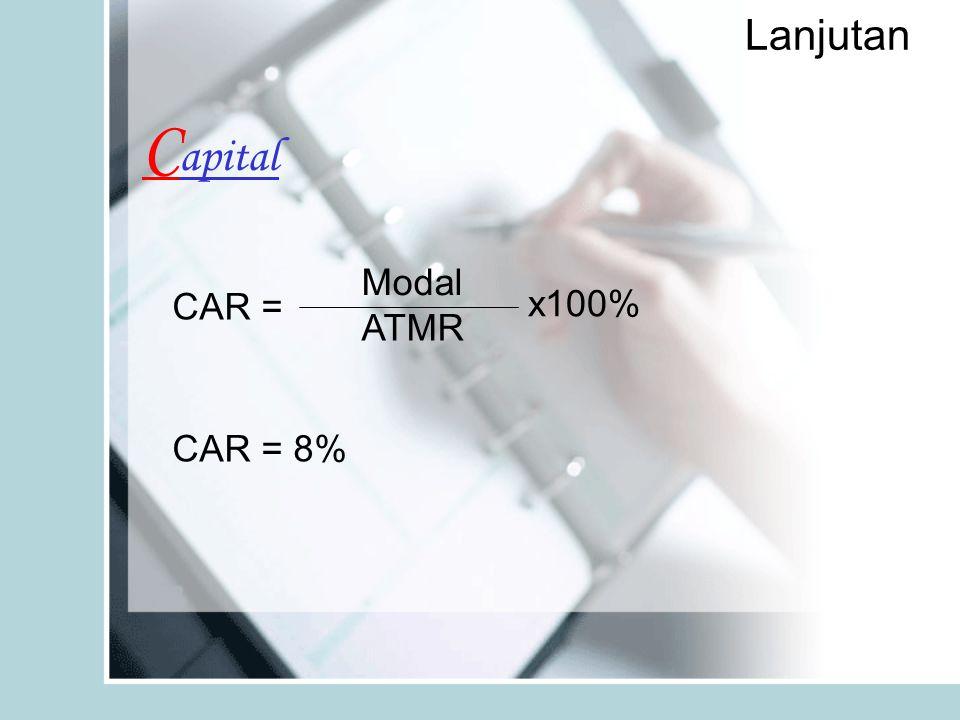 Lanjutan C apital Modal ATMR x100% CAR = CAR = 8%