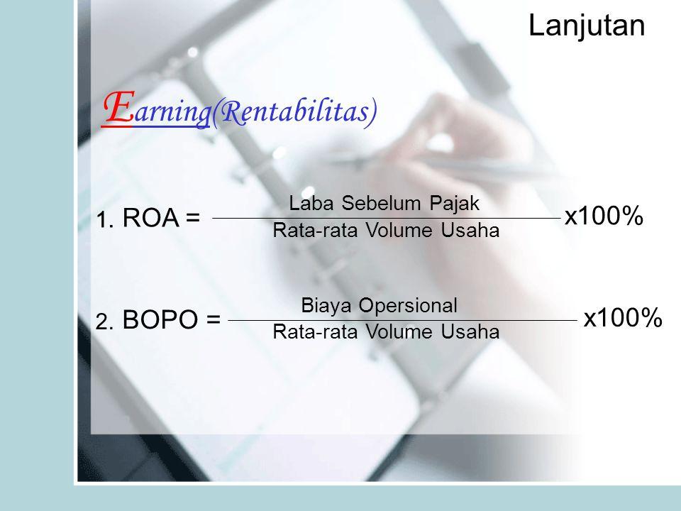 Lanjutan E arning(Rentabilitas) Laba Sebelum Pajak Rata-rata Volume Usaha x100% ROA = 1. Biaya Opersional Rata-rata Volume Usaha x100% BOPO = 2.
