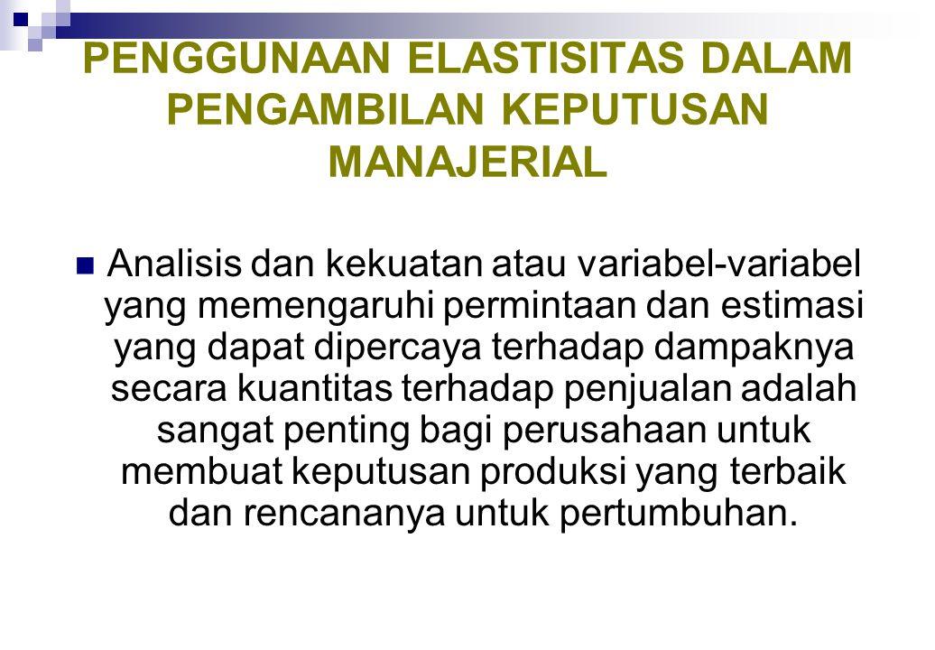 ELASTISITAS PERMINTAAN SILANG TERHADAP HARGA Permintaan akan suatu komoditas juga bergantung pada harga dari komoditas yang berhubungan (substitusi at