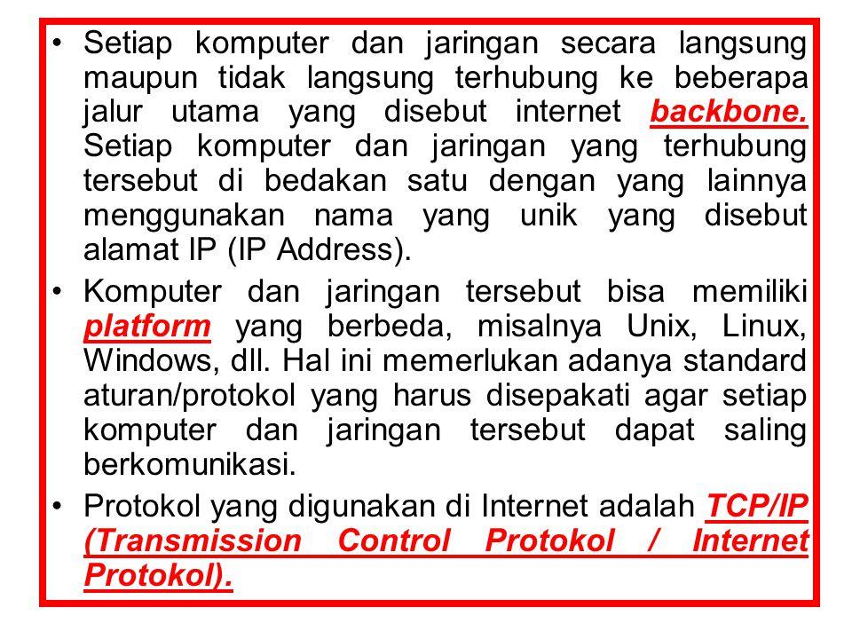 Setiap komputer dan jaringan secara langsung maupun tidak langsung terhubung ke beberapa jalur utama yang disebut internet backbone.