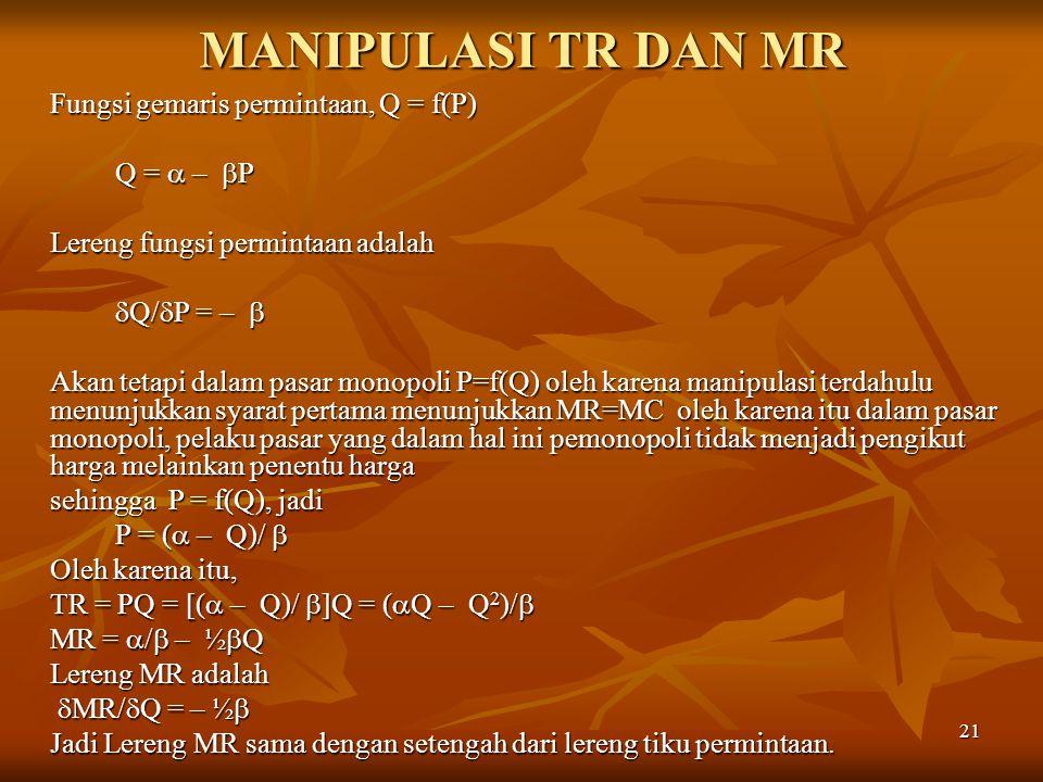 21 MANIPULASI TR DAN MR Fungsi gemaris permintaan, Q = f(P) Q =  –  P Lereng fungsi permintaan adalah  Q/  P = –   Q/  P = –  Akan tetapi dala