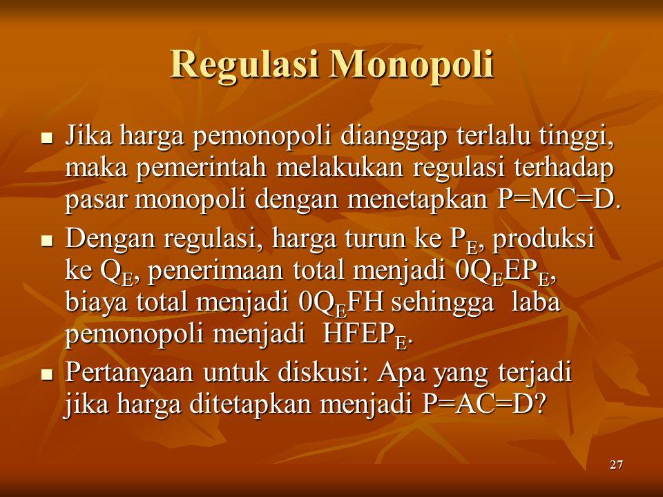 27 Regulasi Monopoli Jika harga pemonopoli dianggap terlalu tinggi, maka pemerintah melakukan regulasi terhadap pasar monopoli dengan menetapkan P=MC=