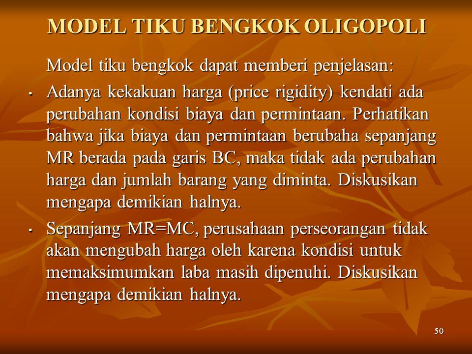 50 MODEL TIKU BENGKOK OLIGOPOLI Model tiku bengkok dapat memberi penjelasan: Adanya kekakuan harga (price rigidity) kendati ada perubahan kondisi biay