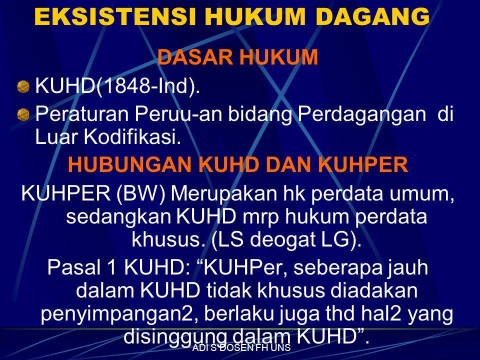 EKSISTENSI HUKUM DAGANG DASAR HUKUM KUHD(1848-Ind).