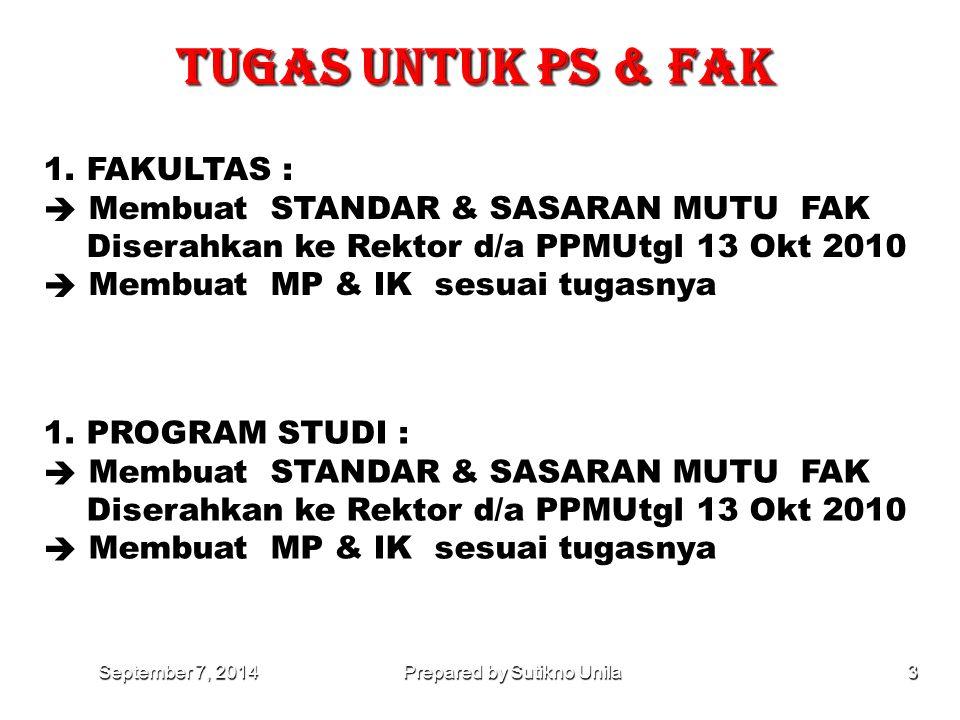 PEMBAGIAN TUGAS MENYUSUN MP & IK September 7, 2014September 7, 2014September 7, 2014Prepared by Sutikno Unila2 NOFAKELEMEN Uraian 1FP1.1 - 2.6 Visi, m