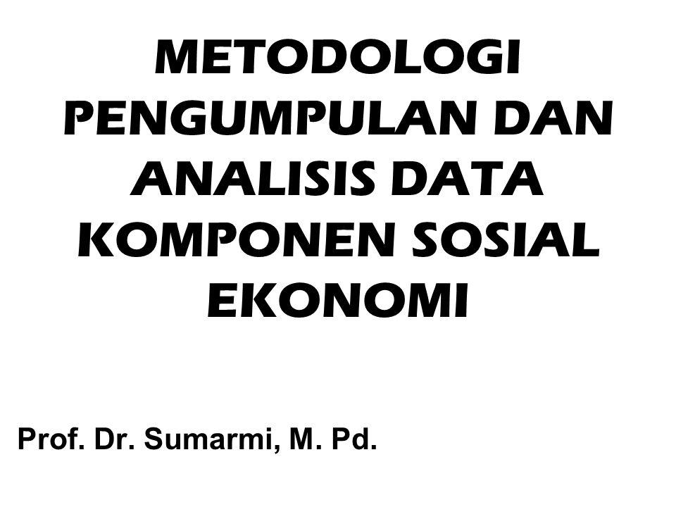 METODOLOGI PENGUMPULAN DAN ANALISIS DATA KOMPONEN SOSIAL EKONOMI Prof. Dr. Sumarmi, M. Pd.
