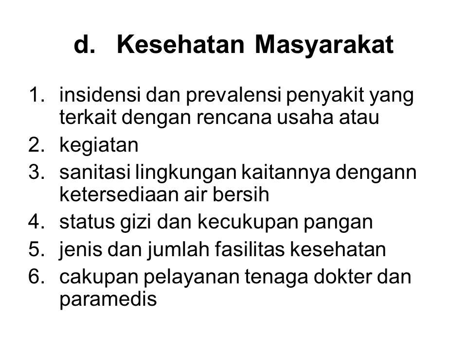 d.Kesehatan Masyarakat 1.insidensi dan prevalensi penyakit yang terkait dengan rencana usaha atau 2.kegiatan 3.sanitasi lingkungan kaitannya dengann k