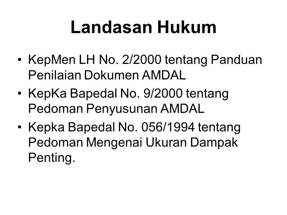 Landasan Hukum KepMen LH No. 2/2000 tentang Panduan Penilaian Dokumen AMDAL KepKa Bapedal No. 9/2000 tentang Pedoman Penyusunan AMDAL Kepka Bapedal No