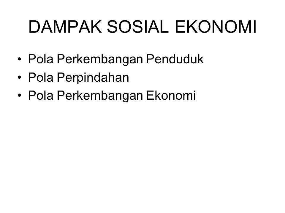DAMPAK SOSIAL EKONOMI Pola Perkembangan Penduduk Pola Perpindahan Pola Perkembangan Ekonomi