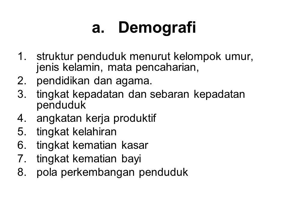 a.Demografi 1.struktur penduduk menurut kelompok umur, jenis kelamin, mata pencaharian, 2.pendidikan dan agama. 3.tingkat kepadatan dan sebaran kepada
