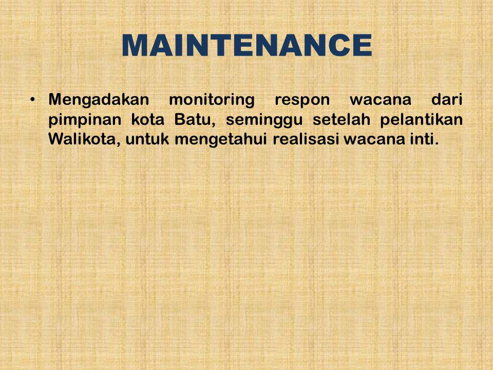 MAINTENANCE Mengadakan monitoring respon wacana dari pimpinan kota Batu, seminggu setelah pelantikan Walikota, untuk mengetahui realisasi wacana inti.