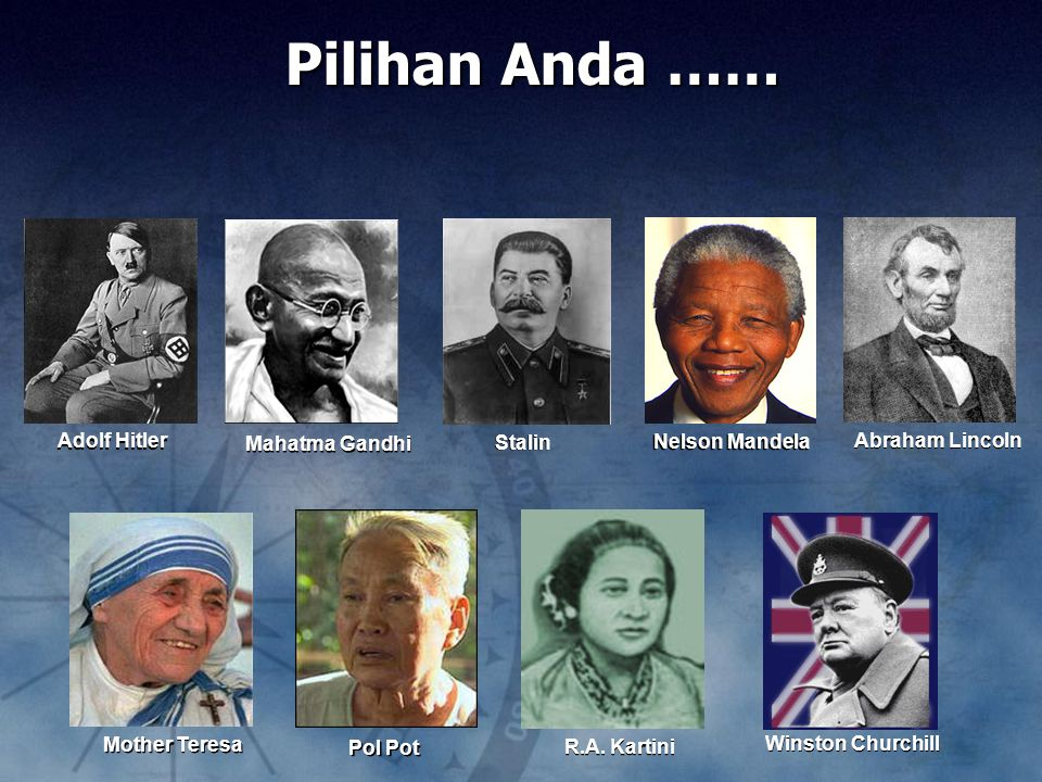 Adolf Hitler Winston Churchill Stalin Nelson Mandela Pol Pot Mother Teresa R.A.