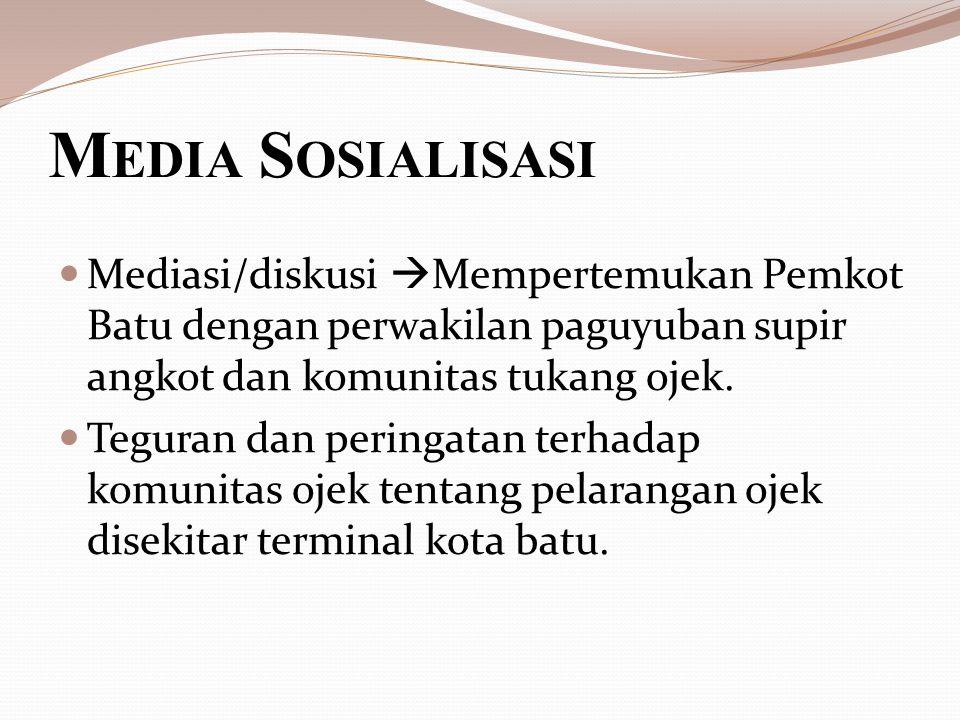 M EDIA S OSIALISASI Mediasi/diskusi  Mempertemukan Pemkot Batu dengan perwakilan paguyuban supir angkot dan komunitas tukang ojek.