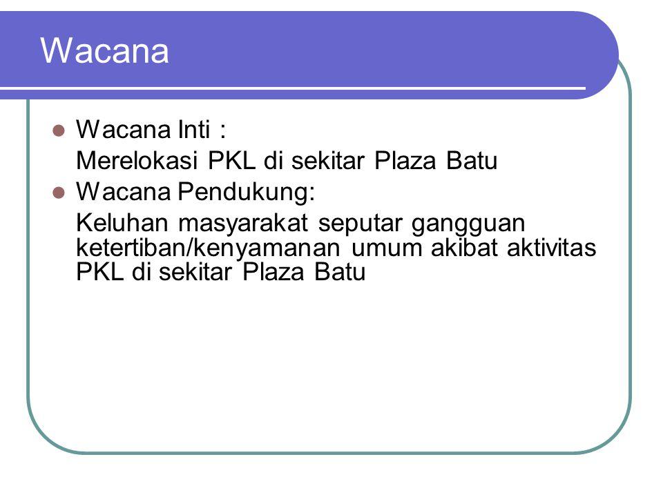 Wacana Wacana Inti : Merelokasi PKL di sekitar Plaza Batu Wacana Pendukung: Keluhan masyarakat seputar gangguan ketertiban/kenyamanan umum akibat aktivitas PKL di sekitar Plaza Batu