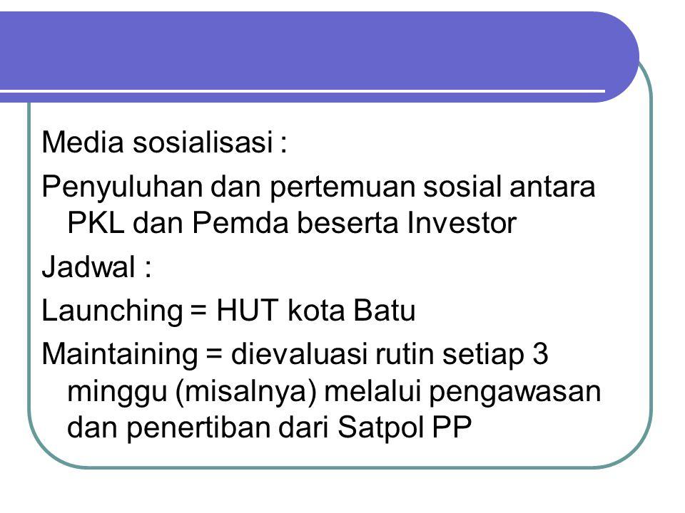 Media sosialisasi : Penyuluhan dan pertemuan sosial antara PKL dan Pemda beserta Investor Jadwal : Launching = HUT kota Batu Maintaining = dievaluasi rutin setiap 3 minggu (misalnya) melalui pengawasan dan penertiban dari Satpol PP