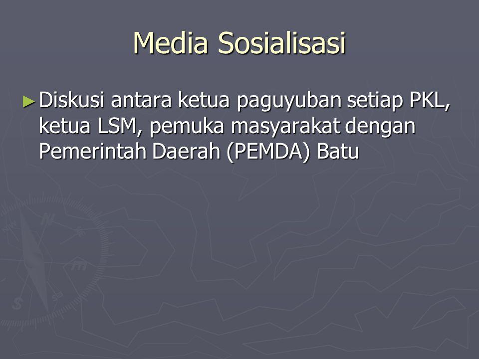 Media Sosialisasi ► Diskusi antara ketua paguyuban setiap PKL, ketua LSM, pemuka masyarakat dengan Pemerintah Daerah (PEMDA) Batu