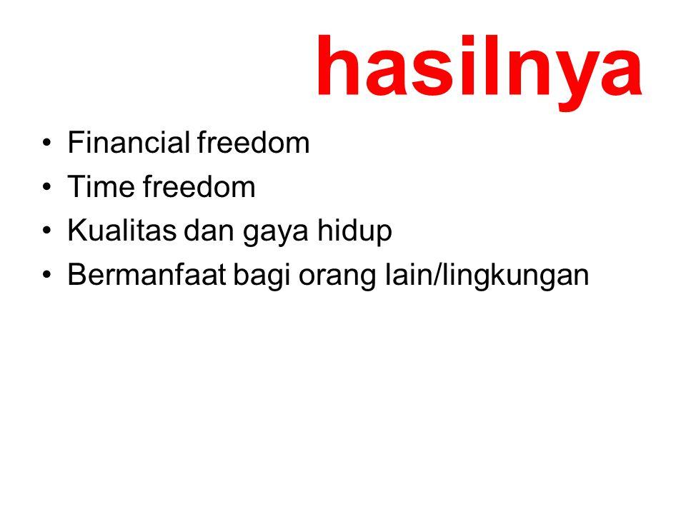 hasilnya Financial freedom Time freedom Kualitas dan gaya hidup Bermanfaat bagi orang lain/lingkungan