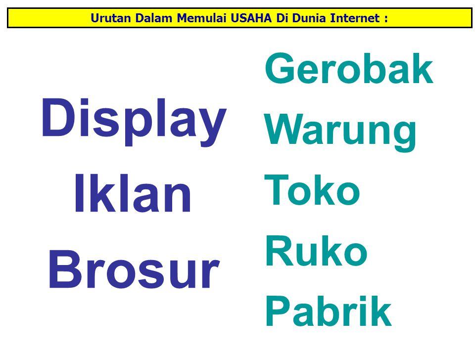 Display Iklan Brosur Gerobak Warung Toko Ruko Pabrik Urutan Dalam Memulai USAHA Di Dunia Internet :