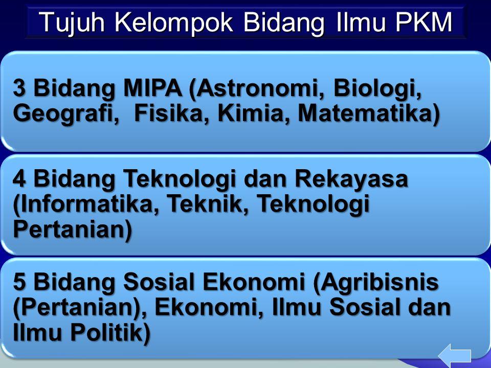 Tujuh Kelompok Bidang Ilmu PKM 3 Bidang MIPA (Astronomi, Biologi, Geografi, Fisika, Kimia, Matematika) 4 Bidang Teknologi dan Rekayasa (Informatika, T
