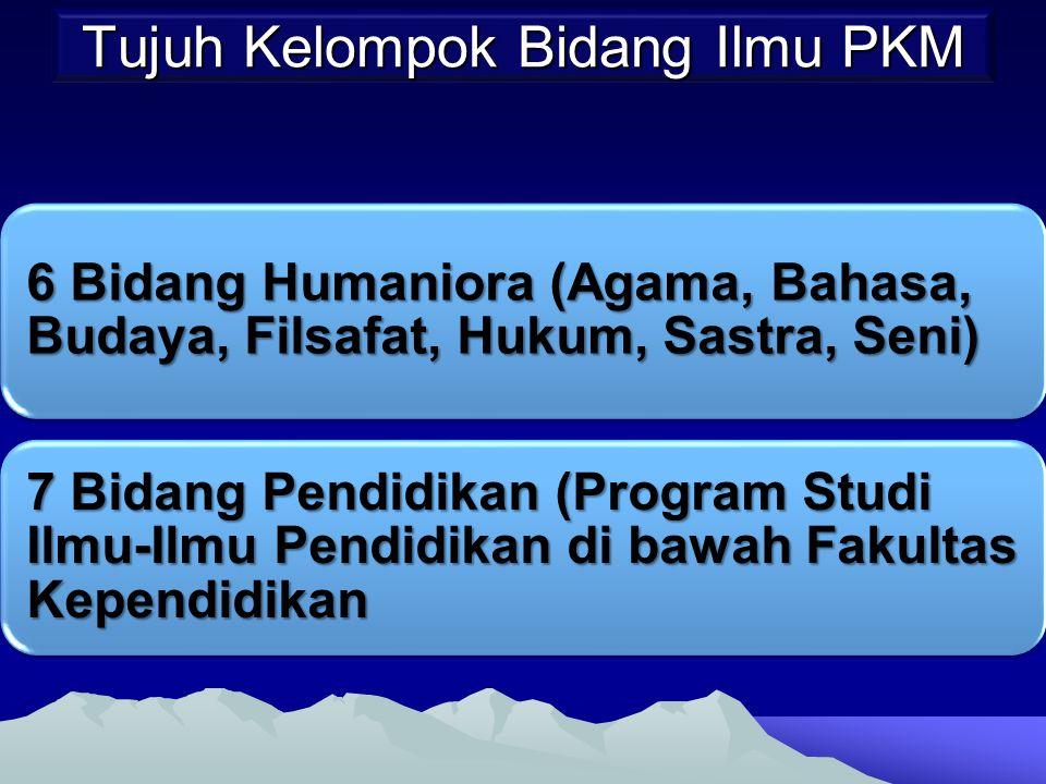 Tujuh Kelompok Bidang Ilmu PKM 6 Bidang Humaniora (Agama, Bahasa, Budaya, Filsafat, Hukum, Sastra, Seni) 7 Bidang Pendidikan (Program Studi Ilmu-Ilmu