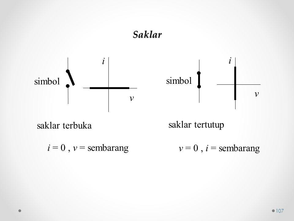 saklar terbuka i = 0, v = sembarang v i simbol saklar tertutup v = 0, i = sembarang v i simbol Saklar 107