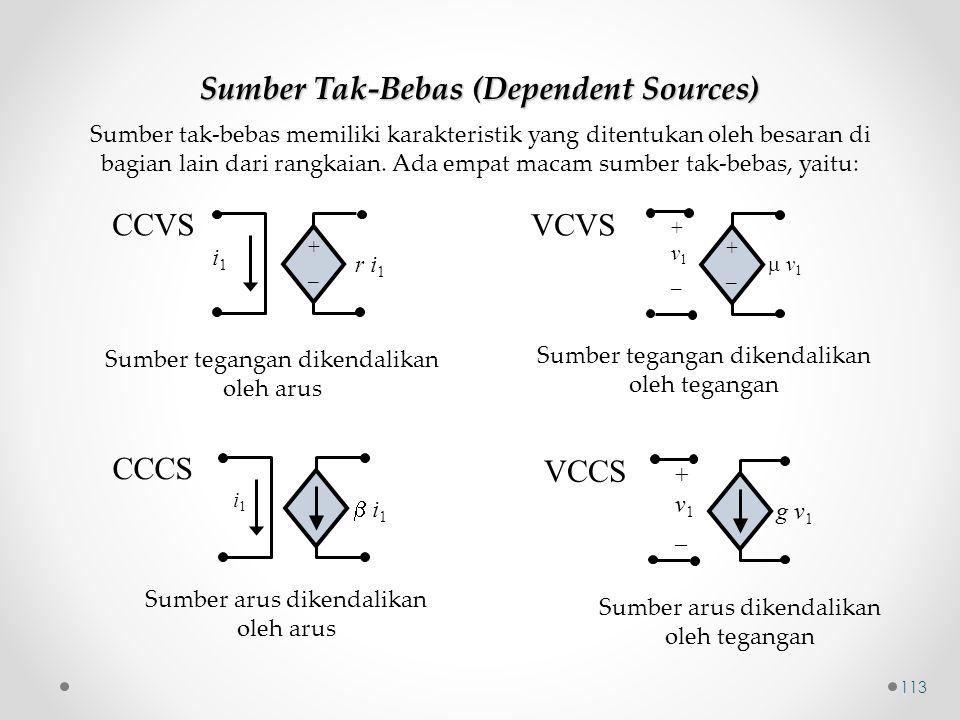 +_+_ i1i1 r i 1 CCVS +_+_  v1 v1 + v 1 _ VCVS  i1 i1 i1i1 CCCS g v 1 + v 1 _ VCCS Sumber Tak-Bebas (Dependent Sources) Sumber tegangan dikendalika