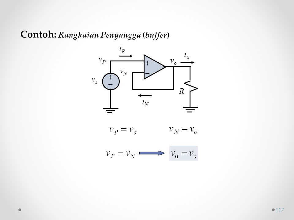 ++ ++ iPiP iNiN vPvP vsvs vNvN R vo vo ioio Contoh: Rangkaian Penyangga (buffer) 117