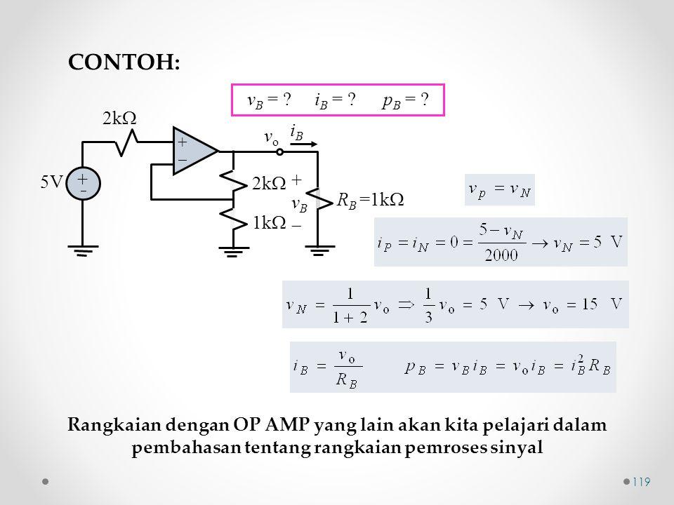 ++ + +  2k  iBiB 5V 2k  1k  +vB+vB R B =1k  vovo v B = ? i B = ? p B = ? CONTOH: Rangkaian dengan OP AMP yang lain akan kita pelajari dalam