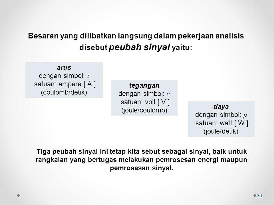 Besaran yang dilibatkan langsung dalam pekerjaan analisis disebut peubah sinyal yaitu: arus dengan simbol: i satuan: ampere [ A ] (coulomb/detik) tega