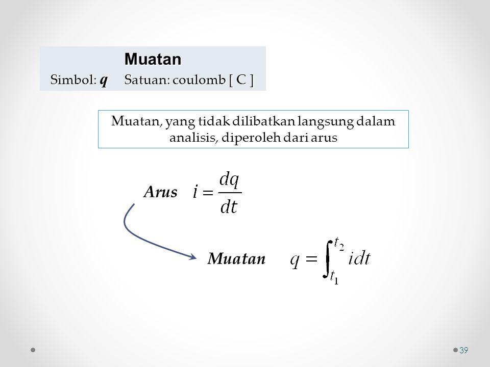 Muatan Simbol: q Satuan: coulomb [ C ] Arus Muatan Muatan, yang tidak dilibatkan langsung dalam analisis, diperoleh dari arus 39
