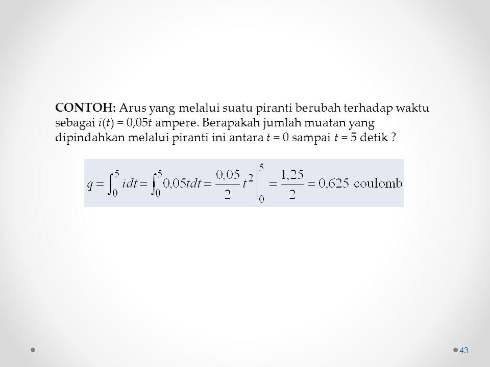 CONTOH: Arus yang melalui suatu piranti berubah terhadap waktu sebagai i(t) = 0,05t ampere. Berapakah jumlah muatan yang dipindahkan melalui piranti i