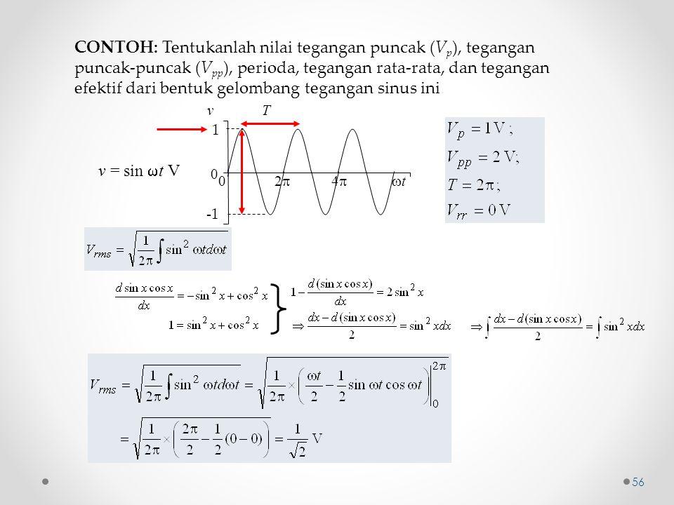 CONTOH: Tentukanlah nilai tegangan puncak (V p ), tegangan puncak-puncak (V pp ), perioda, tegangan rata-rata, dan tegangan efektif dari bentuk gelomb