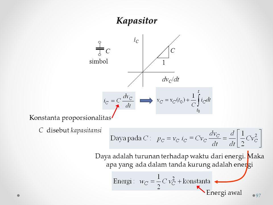 Kapasitor C simbol iCiC C dv C /dt 1 Konstanta proporsionalitas C disebut kapasitansi Daya adalah turunan terhadap waktu dari energi. Maka apa yang ad