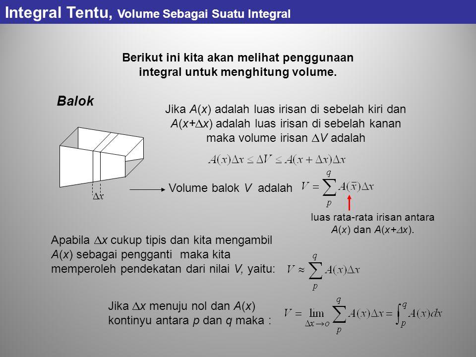 Integral Tentu, Volume Sebagai Suatu Integral Berikut ini kita akan melihat penggunaan integral untuk menghitung volume. Balok xx Jika A(x) adalah l