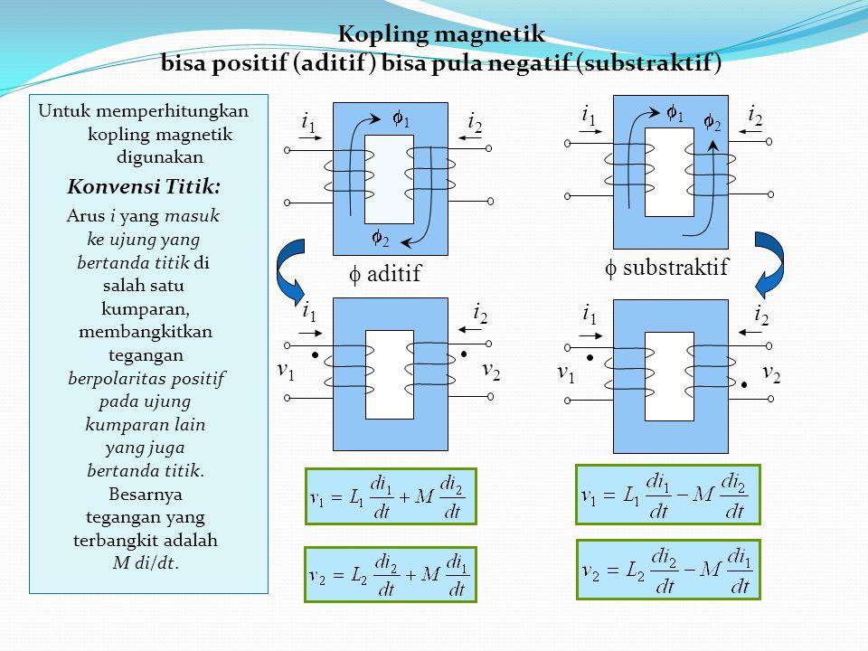  substraktif 11 i1i1 i2i2 22  aditif 11 i1i1 i2i2 22 Untuk memperhitungkan kopling magnetik digunakan Konvensi Titik: Arus i yang masuk ke ujung yang bertanda titik di salah satu kumparan, membangkitkan tegangan berpolaritas positif pada ujung kumparan lain yang juga bertanda titik.