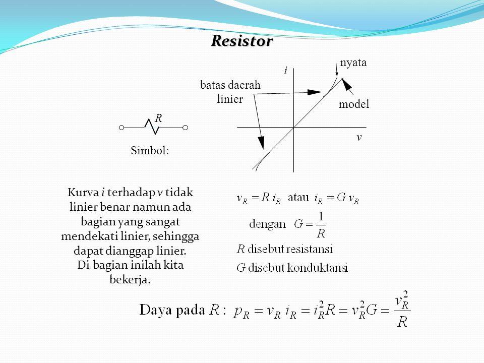 Resistor Simbol: R i v nyata model batas daerah linier Kurva i terhadap v tidak linier benar namun ada bagian yang sangat mendekati linier, sehingga dapat dianggap linier.