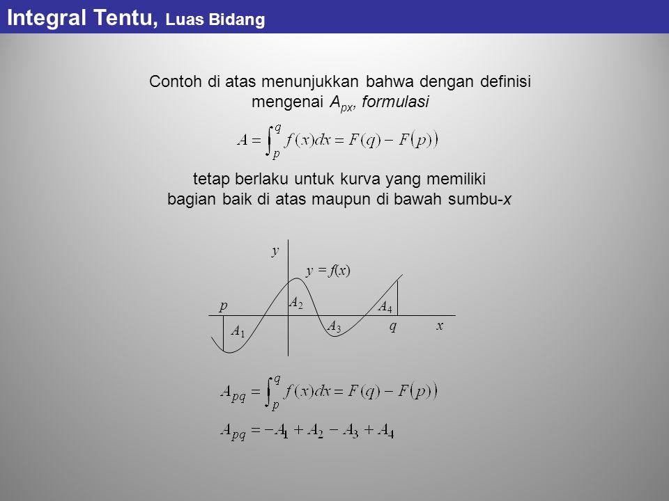 Contoh di atas menunjukkan bahwa dengan definisi mengenai A px, formulasi tetap berlaku untuk kurva yang memiliki bagian baik di atas maupun di bawah sumbu-x p q y x A4A4 A1A1 A2A2 A3A3 y = f(x) Integral Tentu, Luas Bidang
