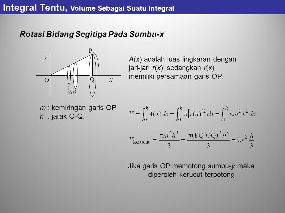 Rotasi Bidang Segitiga Pada Sumbu-x Integral Tentu, Volume Sebagai Suatu Integral y x xx O Q P A(x) adalah luas lingkaran dengan jari-jari r(x); sedangkan r(x) memiliki persamaan garis OP.