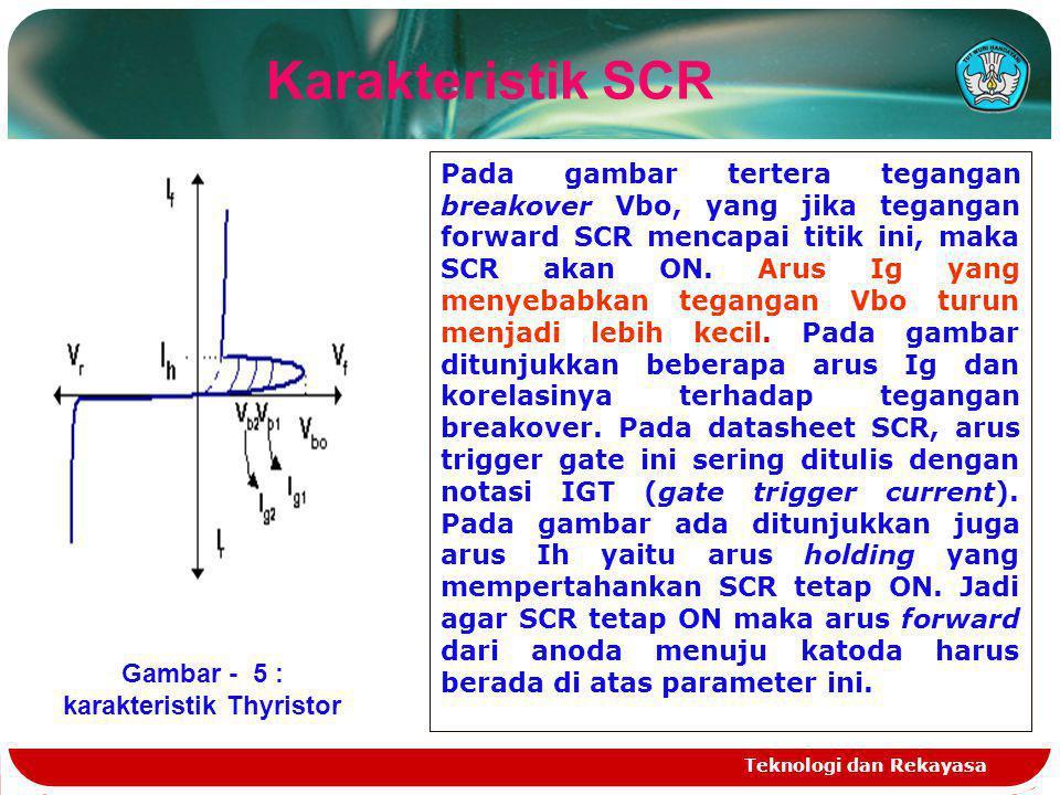 Teknologi dan Rekayasa Karakteristik SCR Gambar - 5 : karakteristik Thyristor Pada gambar tertera tegangan breakover Vbo, yang jika tegangan forward S