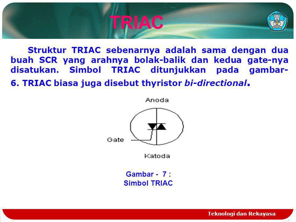 Teknologi dan Rekayasa TRIAC Struktur TRIAC sebenarnya adalah sama dengan dua buah SCR yang arahnya bolak-balik dan kedua gate-nya disatukan. Simbol T