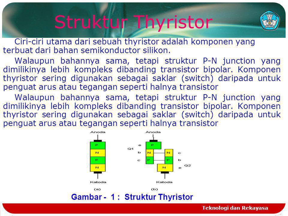 Teknologi dan Rekayasa TRIAC Struktur TRIAC sebenarnya adalah sama dengan dua buah SCR yang arahnya bolak-balik dan kedua gate-nya disatukan.