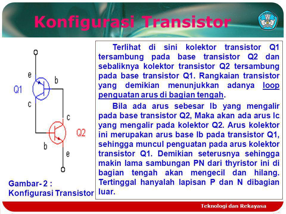 Teknologi dan Rekayasa Konfigurasi Transistor Gambar- 2 : Konfigurasi Transistor Terlihat di sini kolektor transistor Q1 tersambung pada base transist